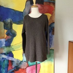 Eileen Fisher wool sweater taupe brown LARGE
